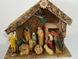 Nativity Set 14 Piece Antique Celluloid   Hand Painted 10  x 9 inches 1920 1930