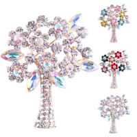 Shiny Brooches Colorful Crystal Rhinestone Plants Tree Brooch Pins Jewelry GifPF