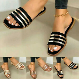 Ladies Summer Open Toe Flat Slip On Sandals Beach Toe Square Shoes Slippers