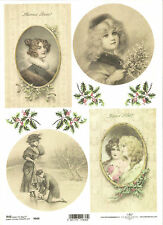 Rice Paper for Decoupage Scrapbooking, Christmas Vintage Lady Winter A4 ITD R606