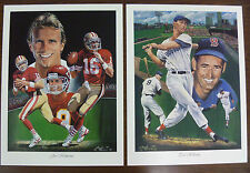 Ted Williams & Joe Montana Dual Sided Print by Angelo Marino