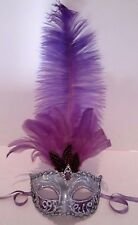 MAR002SS HANDMADE IN ITALY- MASQUERADE, PAPIER MACHE, PARTY MASK  PURPLE/SILVER