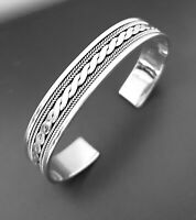 Quality Mens Solid 925 Sterling Silver Bangle Bracelet  Braided Detail