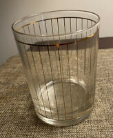 Vintage Culver USA Gold Devon Stripes Double Old Fashioned High Ball Glass