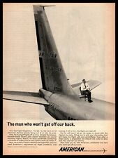 1962 American Airlines Flight Dispatcher Sitting In Chair On Plane Print Ad