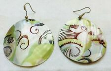 Beautiful Mother of Pearl Shell Round Drop Ethnic Earrings Bali