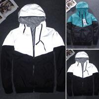 Mens Reflective Jacket Windbreaker Hoodie Hip Hop Coat Windproof Raincoat M-XXL