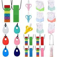 Kids Baby Sensory Chew Chewelry Chewy Necklace Pendant Autism ADHD Teething Toys