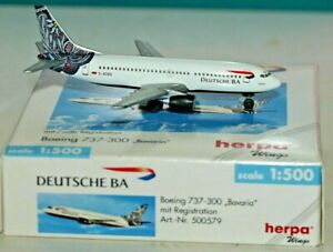 "HERPA WINGS 1:500 SCALE DIECAST "" DEUTSCHE BA BOEING 737-300 BAVARIA "" 500579"