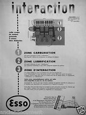 PUBLICITÉ 1954 MOTEUR INTERACTION CARBURATION LUBRIFICATION ESSO