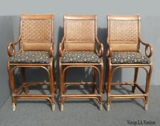 Vintage Bamboo Rattan Style Black & Brown Barstools ~ Tommy Bahama Style