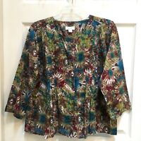Christopher & Banks Blouse Womens Size XL Abstract Floral Pintucking 3/4 Sleeve