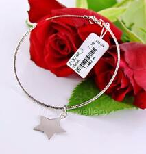 Solid 925 Sterling Silver Rhodium Plated Bracelet With STAR - Length 19cm
