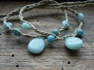 Handmade in USA Anklet Bracelet Unisex Hemp Amazonite Tear Drop Gift Pair