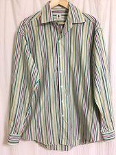 Lorenzini Italy striped Sz L men's long sleeve button down shirt Great condition