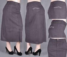 WOMEN PENCIL LONG SKIRT BACK SLIT STRETCH GRAY DENIM PLUS  XL-2XL-3XL #DA-85470X