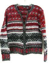 Tangents women Size M full zip Cardigan sweater Norweigen Style red gray