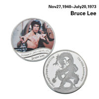 WR Kung Fu Star Of China Bruce Lee Silver Coin Medal 45th Anniversary Souvenirs