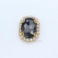 12p 10x14mm oval sew on Crystal glass Button rhinestones jewels Wedding ornament