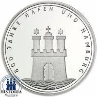 BRD 10 DM 1989 Münze 800 Jahre Hafen und Hamburg Silber bankfrisch in Münzkapsel