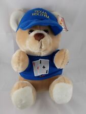 "Texas Hold 'Em Poker Teddy Bear Plush Sits 13"" Shalom Toy"