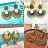 Pair Women Vintage Tassel Bells Drop Earrings Gypsy Indian Jhumka Ethnic Jewelry