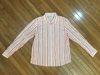 ORVIS Women's Striped Button Down Pink / Red / Yellow Shirt Top Blouse Size 14
