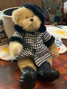 "Audrey Hepburn 2007 Teddy Bear 17"" Houndstooth Black White Coat Trade Secret NEW"