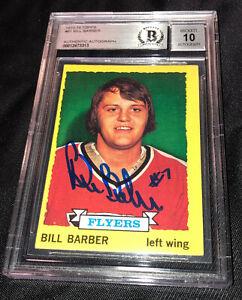 BILL BARBER SIGNED 1973-74 TOPPS FLYERS ROOKIE CARD BECKETT AUTO GRADE 10