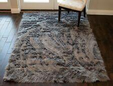 Faux Fur Sheepskin Grey Gray Charcoal Color Solid 6'x9' Feet Area Rug Carpet