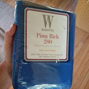 NWT WAMSUTTA Bright Dark Blue Twin Flat Sheet PIMA RICH 280 Cotton/Polyester