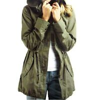 S-XL Womens Army Green Cotton Hooded Coat Fashion Military Style Coat Jacket