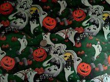 Vintage Halloween Plastic Coated Table Cloth Fabric New Old Stock Robert Kaufman