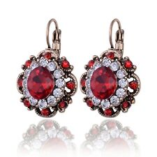 Women's Exotic Turkish Hurrem Cluster Style CZ Crystal Ruby Fashion Earrings New
