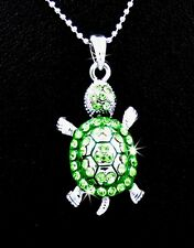 Adorable New Silver Tone Green Turtle Austrian Crystal Charm Pendant Necklace