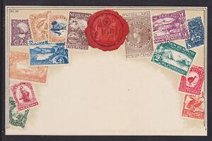 Zieher #59 unused PPC. Stamps of New Zealand, embossed