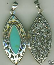 Sterling Silver  Turquoise & Marcasite 2 sided Reversible Locket Pendant 1.3/4""