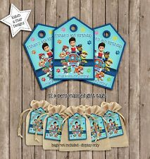 PAW PATROL BIRTHDAY PARTY PERSONALISED THANK YOU TAGS X 12