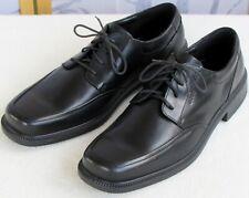 49 | Ecco Men Black Leather Lace Up Dress Apron Toe Oxford Shock Point Heel Shoe