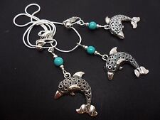A TIBETAN SILVER  DOLPHIN & TURQUOISE BEAD NECKLACE AND CLIP ON EARRING SET. NEW