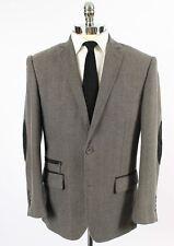 Slim Fit 40S Mens Gray Blazer Sport Coat Jacket Elbow Patches Dual Vents 204
