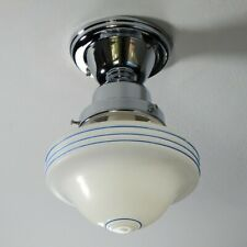 Semi-Flush Ceiling Light Fixture Vintage Glass Shade New Chrome Fixture