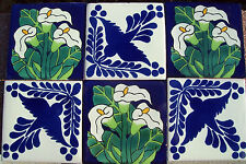 "6~Talavera Mexican tile pottery hand painted 4"" hand made Calla Lily Birds Blue"