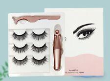 Magnetic False Eyelashes and Liquid Eye Liner Lashes Tweezer Black Reusable