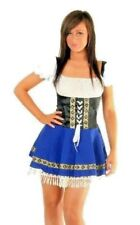 Womens German Blue Black Oktoberfest Beer Maid Dirndl Dress Costume Size 6 - 8
