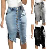 Plus Size Women's Denim Jeans Skirt High Waist Skinny Bodycon Button Midi Dress