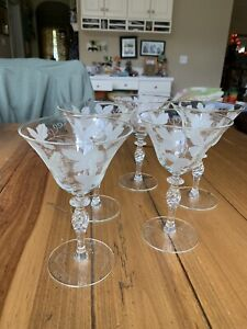 Vintage Etched Crystal Wine Glasses Etched Grapes And Vines Set of 5