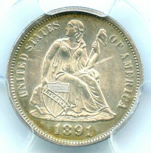 1891 F-104 Liberty Seated Dime, PCGS MS64