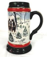 "Anheuser BUSCH BUDWEISER CERAMARTE BEER STEIN 1991 "" THE SEASON'S BEST "" WINTER"