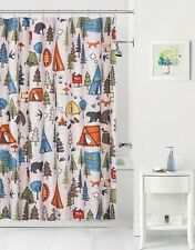 Lake Lodge Cabin Woods Motorhome Camping Tent Bear Tree Fabric Shower Curtain